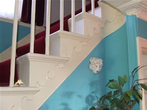 Staircase showing detailing in the risers