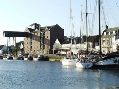 Wells harbour with the distinctive granary building in the background